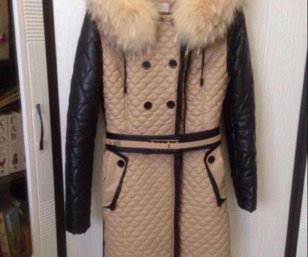 Зимнее пальто из эко-кожи. Фото 1. Любучаны.