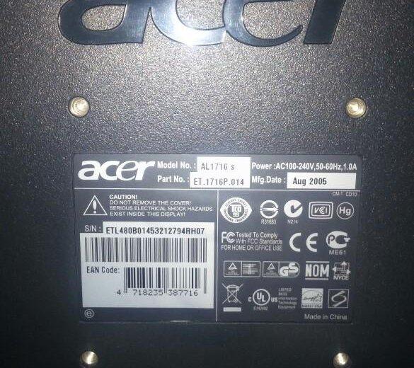 Монитор для компьютера acer. Фото 1. Удельная.
