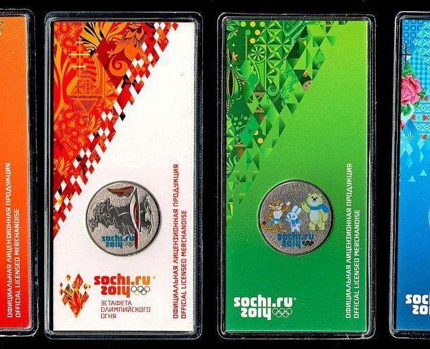 Набор цветных монет сочи в блистерах. Фото 1. Москва.