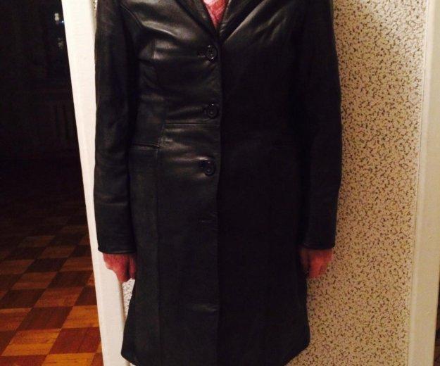 Кожаное чёрное пальто. Фото 2. Петрозаводск.