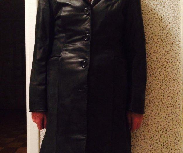 Кожаное чёрное пальто. Фото 3. Петрозаводск.