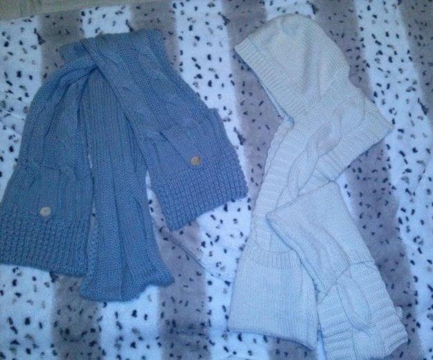 Шарфы вязанные с карманами , белый с капюшоном. Фото 1. Подольск.