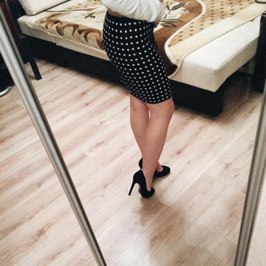 Чёрная юбка в белый горошек, новая. Фото 1. Санкт-Петербург.