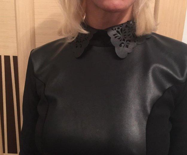Платье со вставками экокожа. Фото 2. Красногорск.
