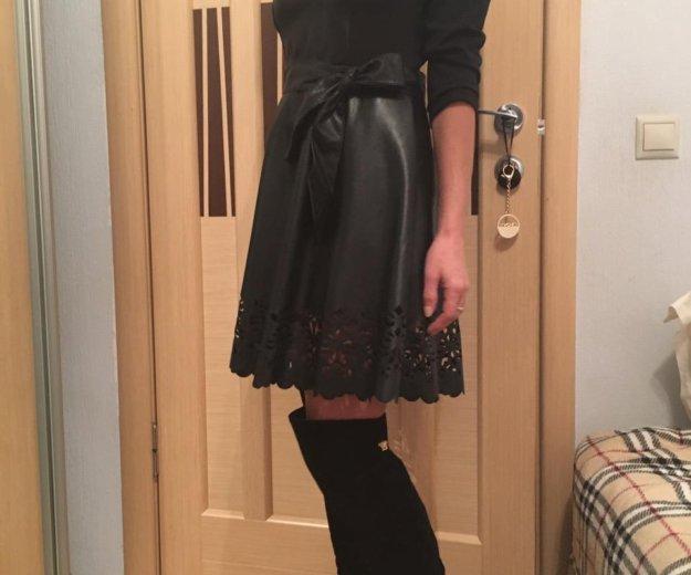 Платье со вставками экокожа. Фото 4. Красногорск.