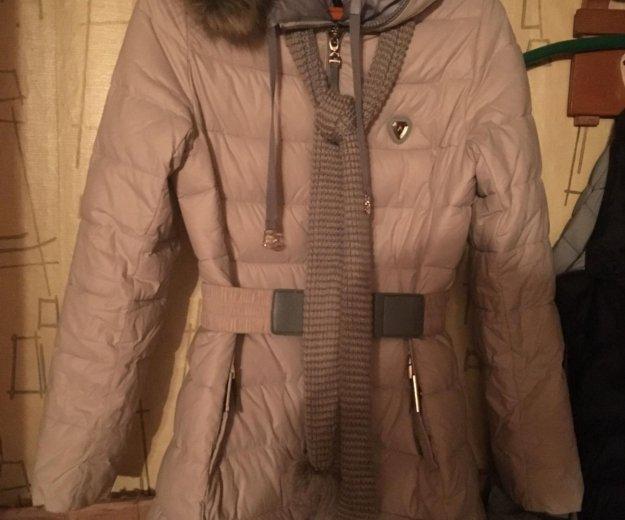 Зимний пуховик, шапка новая, шарф. Фото 1. Раменское.
