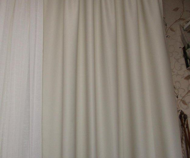 Шторы новые  2шт блэкаут молочный цвет экрю. Фото 3. Реутов.