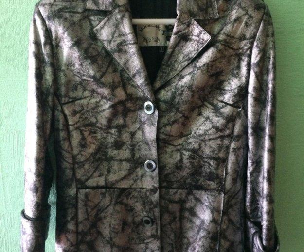 Кожаный пиджак (куртка). размер 46-48. Фото 1. Санкт-Петербург.