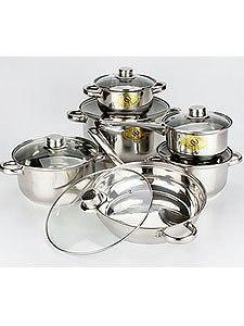 Н-р посуды 12пар(7,0/3,6/2,8/1,9л)ковш,сковородка. Фото 1. Пушкино.