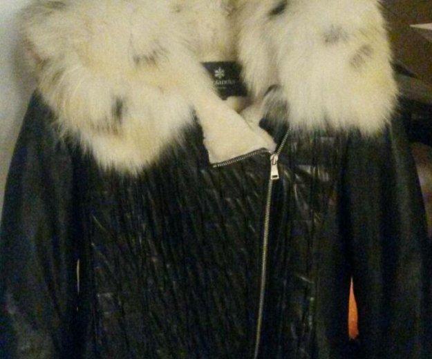 Куртка кожанная на мутоне. Фото 2.