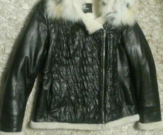 Куртка кожанная на мутоне. Фото 3.