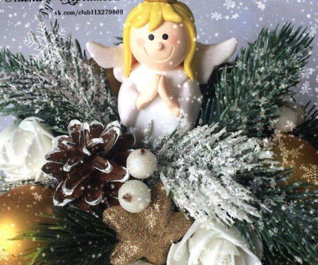Новогодняя настольная композиция с ангелочком.. Фото 2. Казань.