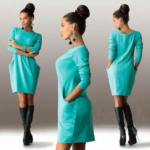 Женское офисное  мини  платье  с длинным рукавом. Фото 1. Пушкино.