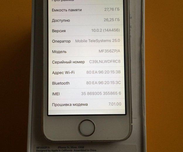 Iphone 5s 32gb lte a1530 silver. Фото 4. Красноярск.