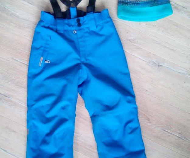 Зимние брюки. 104 размер. и шапка к ним. Фото 1.