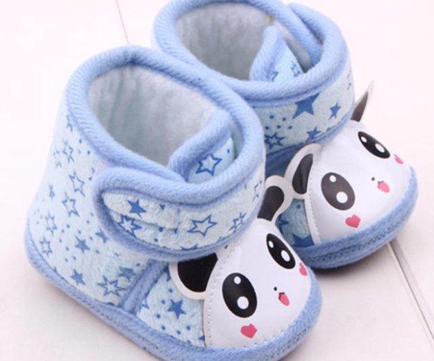 Пинетки-ботинки голубые, панда - новые!. Фото 3. Санкт-Петербург.