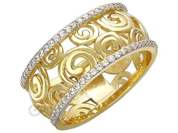 Кольцо из жёлтого золота с фианитами завод эстет. Фото 1. Москва.