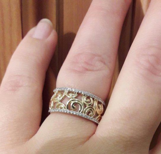 Кольцо из жёлтого золота с фианитами завод эстет. Фото 4. Москва.