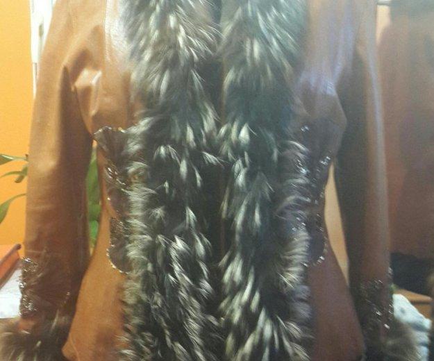 Куртка с мех чернобур. кожаная(натуральная)женская. Фото 1. Москва.