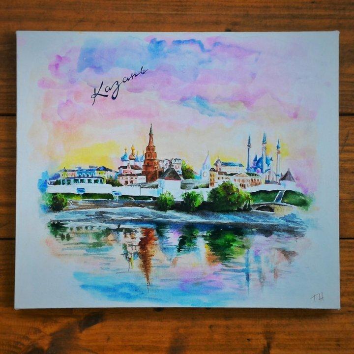 Казань рисунок акварелью