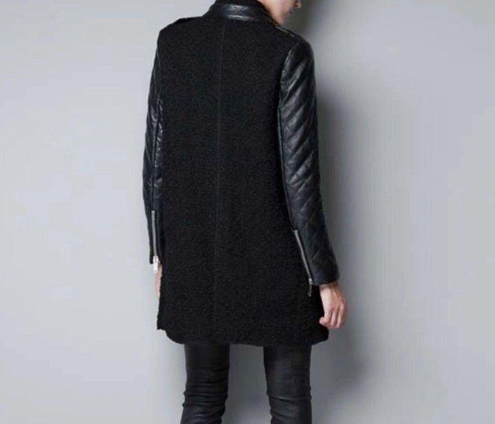 детальну вязаное пальто с кожаными рукавами фото правильное