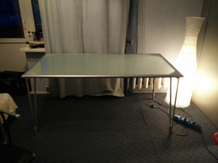 стол Ikea стеклянный матовый на алюминиевой раме купить в