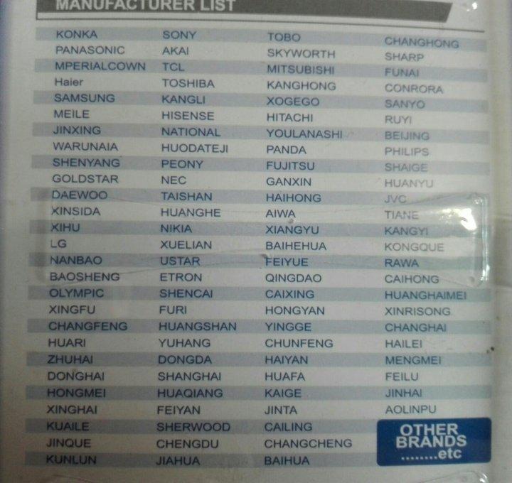 Коды для пульта huayu hr-159e