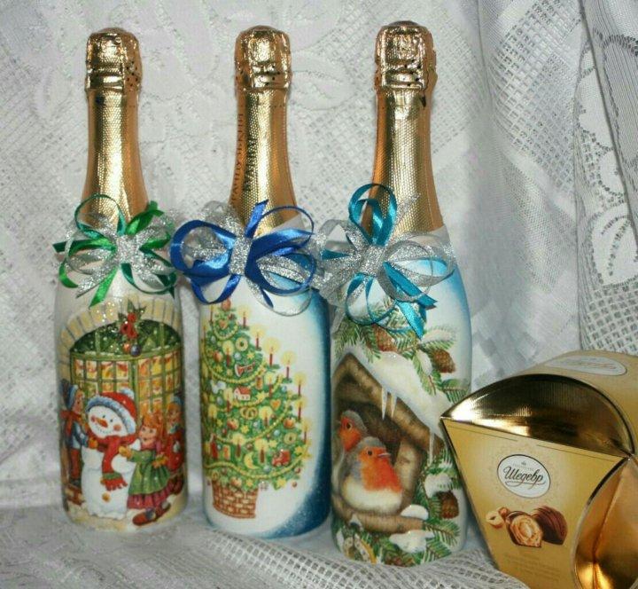декупаж новогодних бутылок шампанского фото приставкой супер