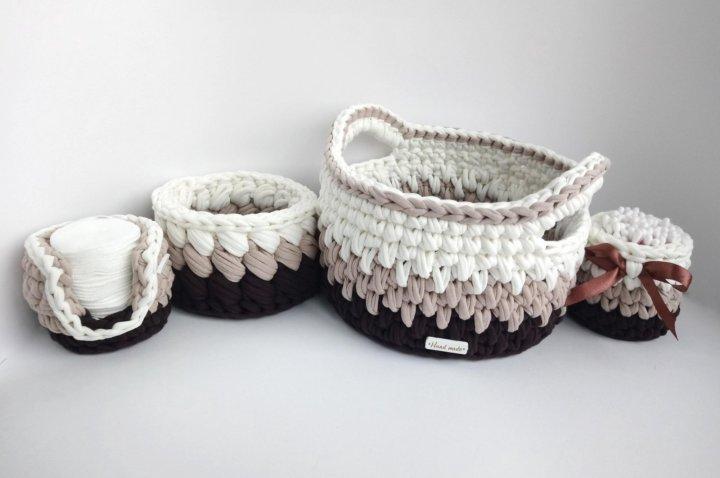 вязаные корзины из трикотажной пряжи купить в тюмени цена 250 руб