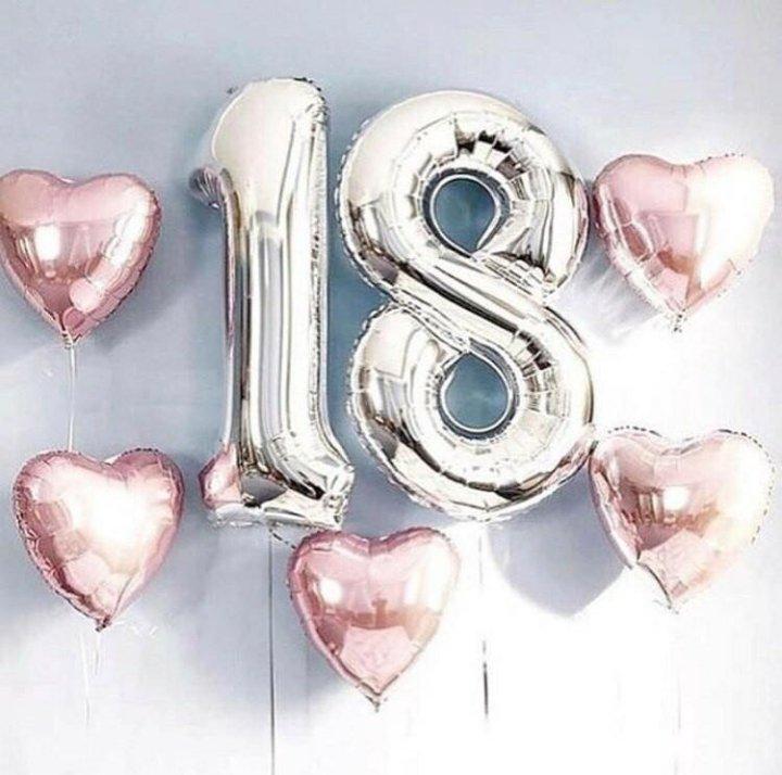 Картинка с надписью 18 лет с днем рождения