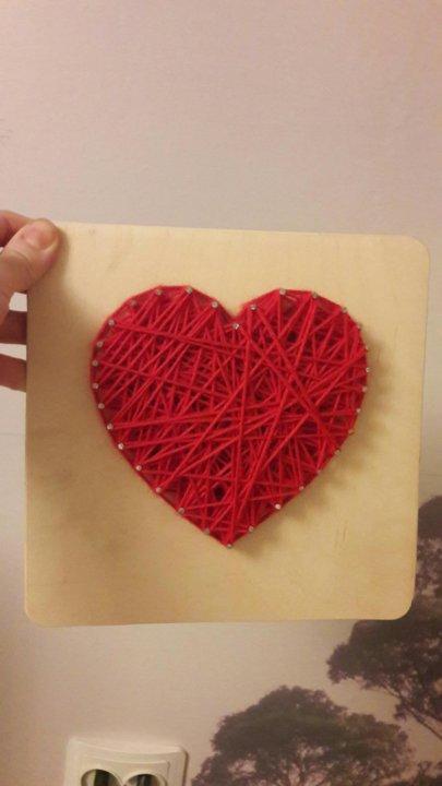Днем рождения, открытка сердечко из ниток