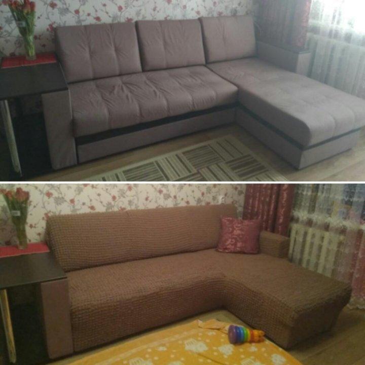 чехол на угловой диван с оттоманкой танкеткой купить в москве