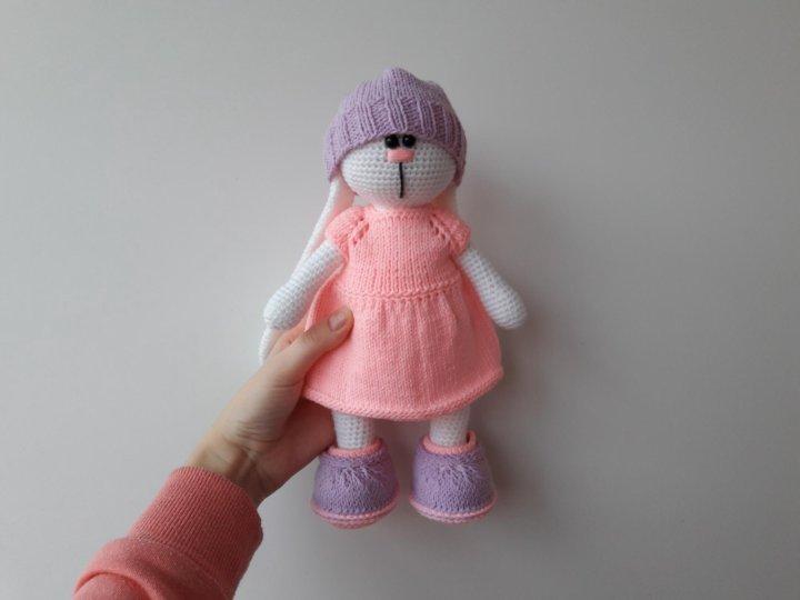 вязаная игрушка заяц в стиле тильда купить в красноярске цена 1