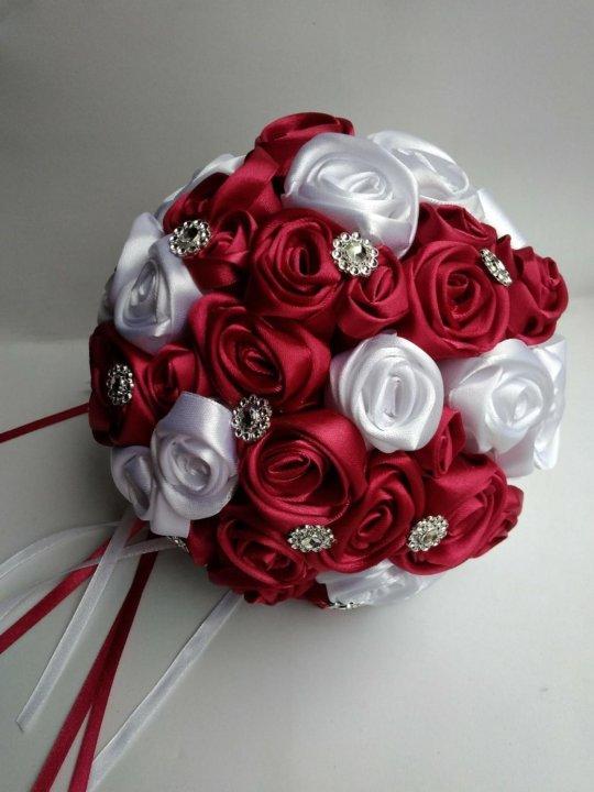 Букет из атласных лент купить в украине, букеты розовых