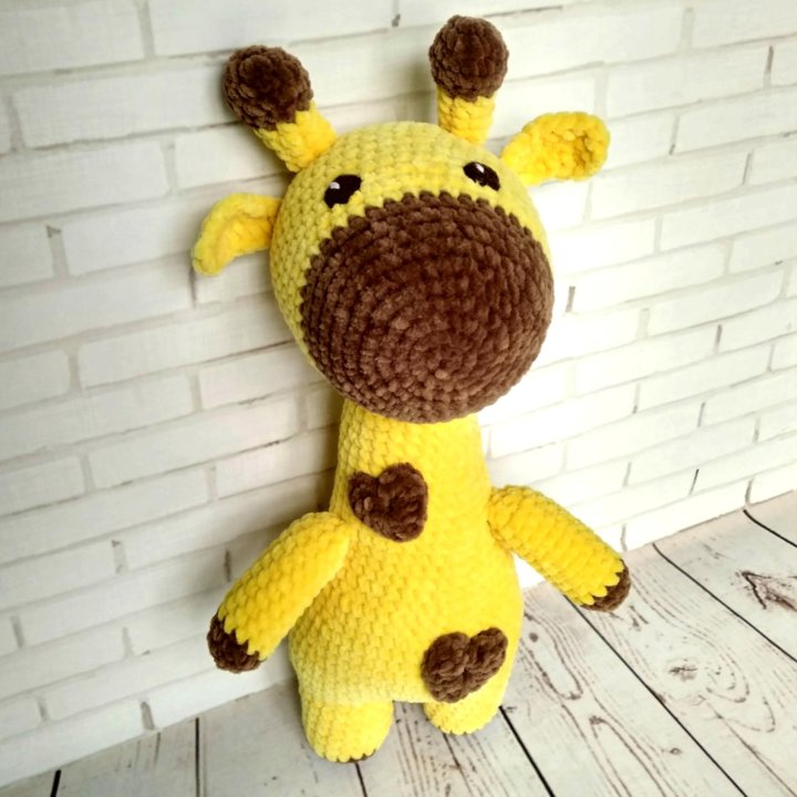 жираф вязаный игрушка из плюшевой пряжи купить в москве цена 1