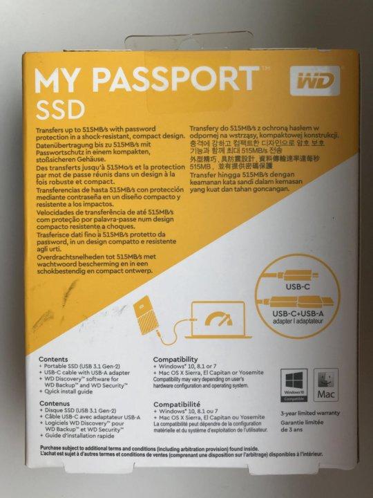Внешний SSD WD My Passport 512 GB (Новый) – купить в