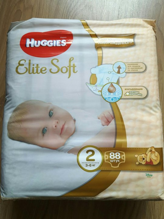 9b2aa25f95d5 Новые Huggies Elite Soft 2 (3-6кг)88 шт. – купить в Москве, цена ...