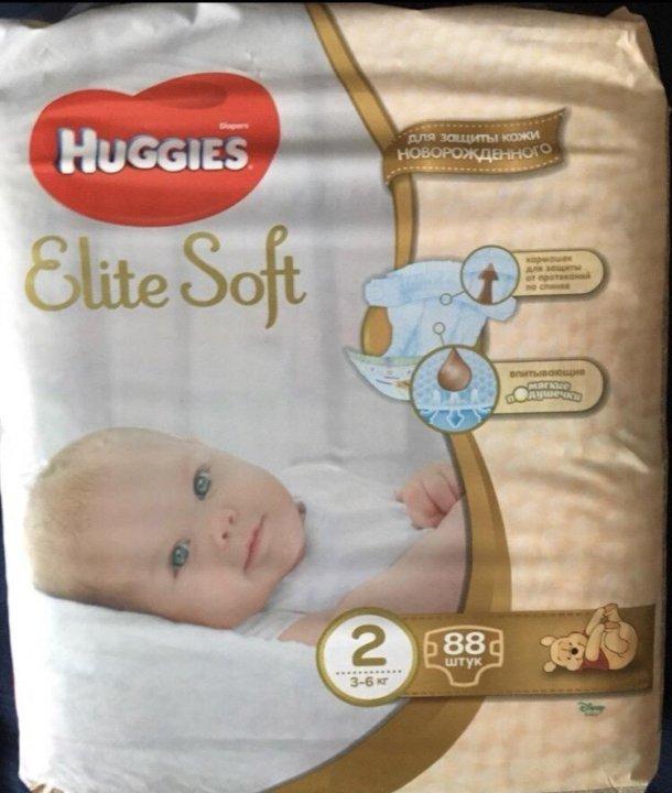 cc814be3281c Huggies Elite Soft 2 (3-6 кг) (88 штук) – купить в Москве, цена 750 ...