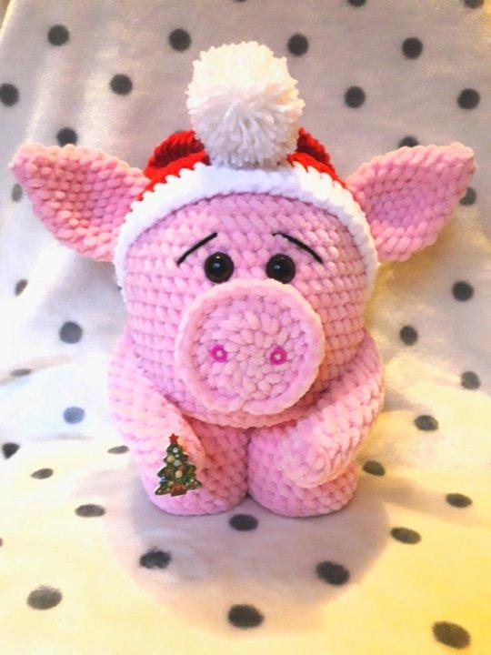 вязаная крючком игрушка свинка в калпоке купить в москве цена 1