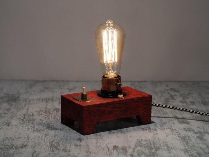 деревянный светильник ночник в стиле лофт купить в санкт