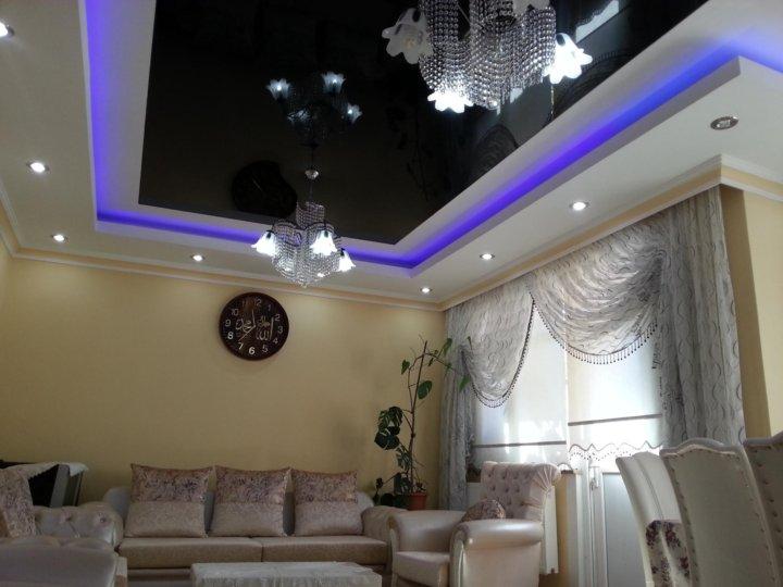 представляют собой многоуровневые натяжные потолки фото для зала или