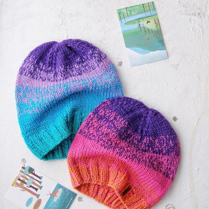 шапка вязаная вязаная шапка с градиентом купить в москве цена 1