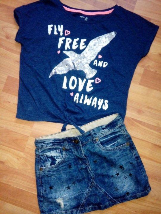 39a8439600f Джинсовая юбочка и футболочка с пайетками – купить в Нижнем Тагиле ...