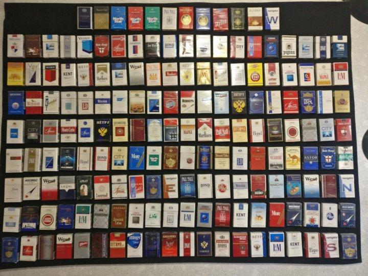фото коллекции пустых пачек от сигарет его
