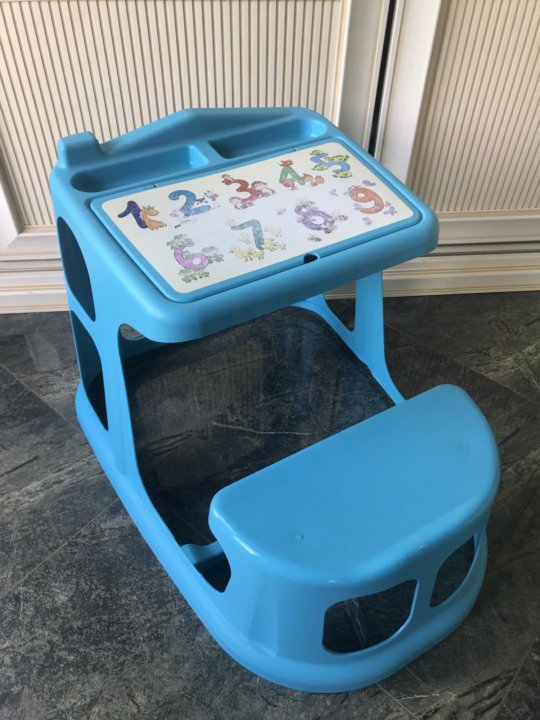 Стол-парта пластишка с картинкой голубой