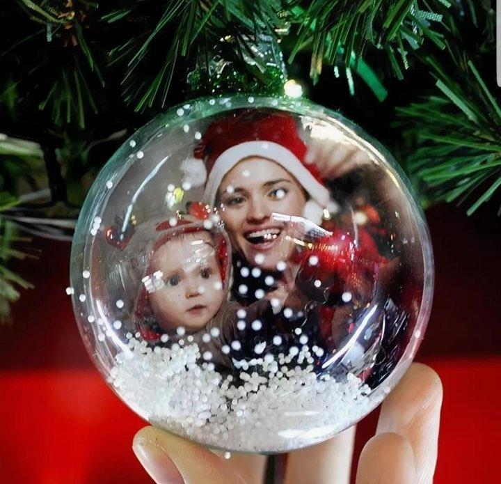 как сделать новогодние шары с фотографией внутри растираем