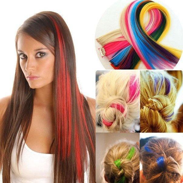 Цветные пряди волос на заколках купить москва