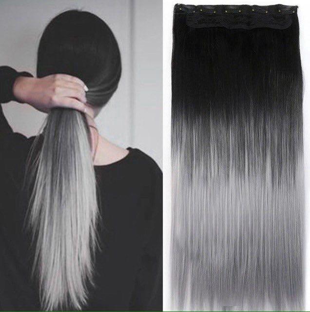 Волосы омбре на заколках