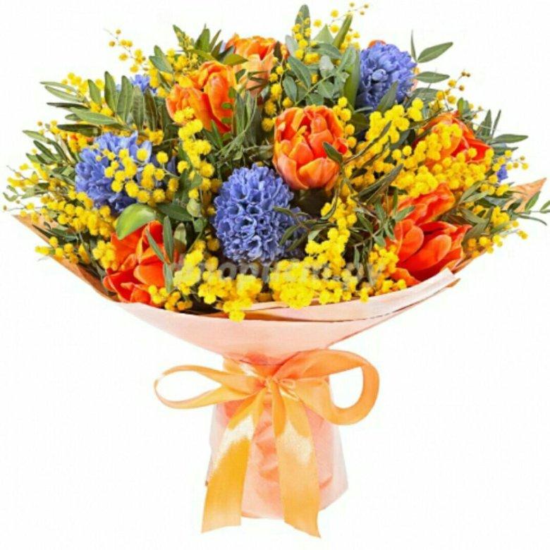 Тюмень, букет из тюльпанов и мимозы фото