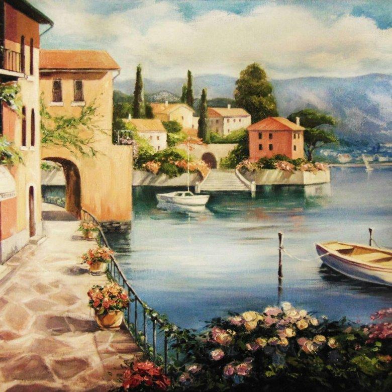 Постер картины итальянские пейзажи поздравление работникам